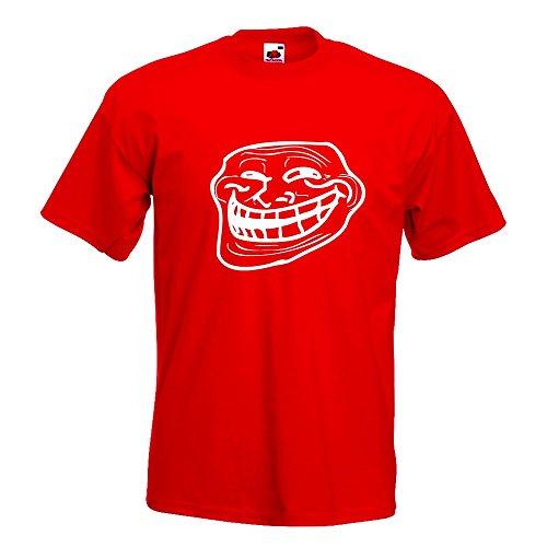 KIWISTAR - Troll Face - Coolface T-Shirt in 15 verschiedenen Farben - Herren Funshirt bedruckt Design Sprüche Spruch Motive Oberteil Baumwolle Print Größe S M L XL XXL Rot