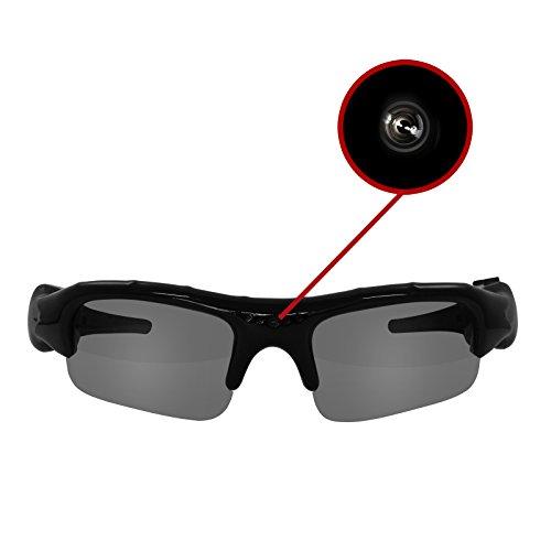 Eaxus Action Videobrille/Spionbrille/Kamerabrille. Actionkamera mit Sonnenbrille – Mini Kamera und Mikrofon. Versteckte Videokamera, Camcorder VGA Überwachungskamera.