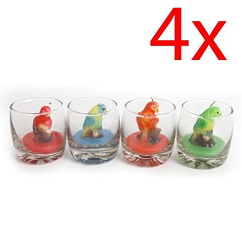SET OF 4 PARROT SHAPED CANDLES IN GLASS POT HOME DECOR COLOURED WAX GIFT NEW
