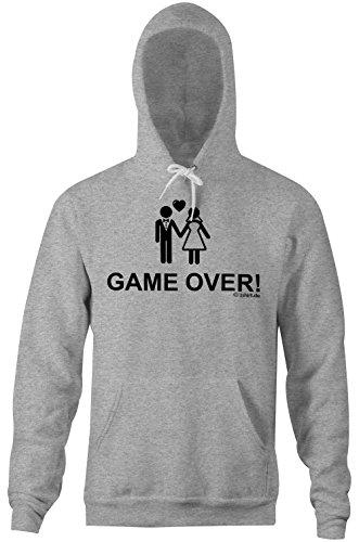 Game Over �?Comoda felpa con cappuccio per uomini �?stampa di alta qualità e slogan buffo �?Il regalo perfetto per ogni occasione grau-meliert