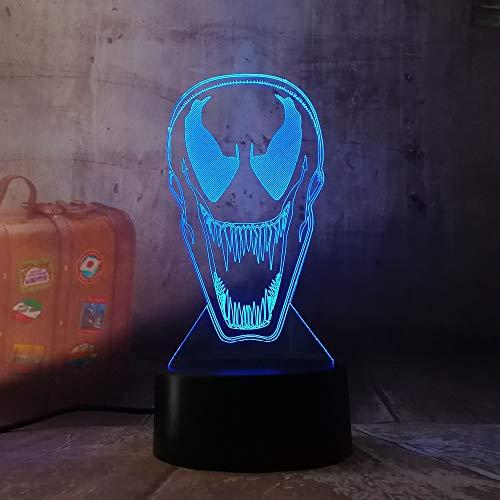 lampada 3d bambini,Lampada A Led A Luce Notturna 3D Dc Marvel Comics Movie Venom Figura Luce Notturna Per La Decorazione Dell'Ufficio Camera Che Cambia Colore Sensore Di Tocco Lampada 3D