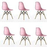 Design Eiffel Set di 6 sedie Gambe in legno plastica Sedia da pranzo in legno massello di faggio per ufficio Sala da pranzo Cucina Camera da letto-pink