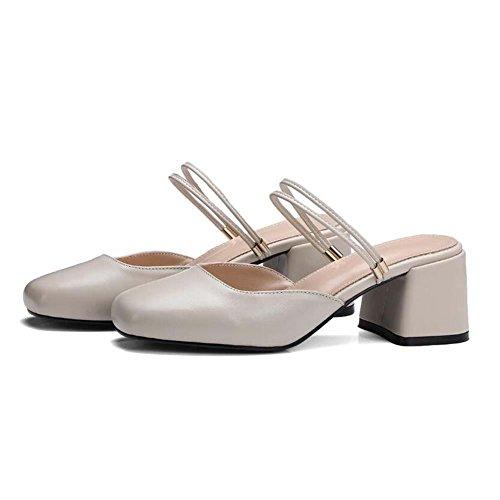 Mode Maria Hausschuhe white Frau meters Muller Pumps Sandalen Mittlere Leder Onfly Schuhe Janes Ferse B5qwxCc