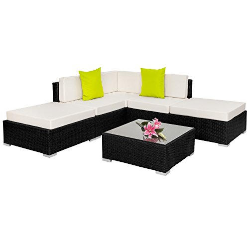 Tectake aluminium luxury rattan garden furniture sofa set for Sofa exterior jardin