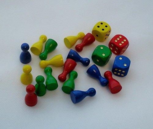 G&S Spielset aus Holz mit 16 Spielfiguren 25 mm x 12 mm und 4 Würfel - 12mm Gelb Würfel In