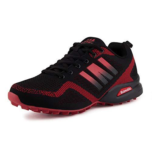 Fusskleidung Herren Sportschuhe Sneaker Runners Strick Textil Laufschuhe Freizeitschuhe Turnschuhe Gym Neon Schwarz Rot EU 43