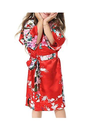 Maedchen Kimono Kostuem Kleid Lange Kleid Blumen Floral Cardigan (10, (Alte Kostüm Nachthemd Dame)