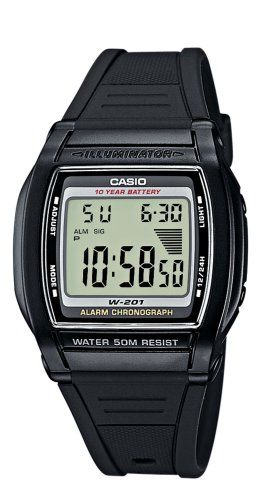 Casio Collection – Herren-Armbanduhr mit Digital-Display und Resin-Armband – W-201-1AVEF