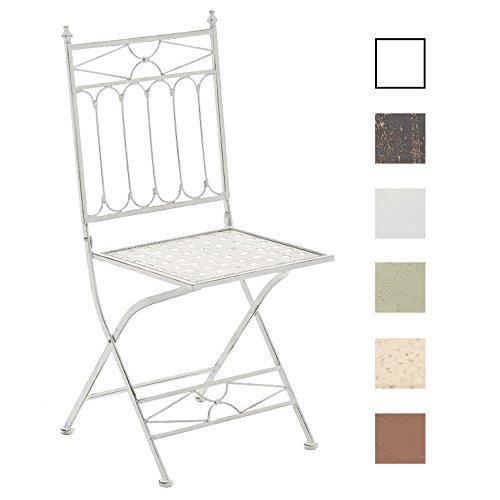 CLP Eisen-Klappstuhl ASINA Design I Klappbarer Gartenstuhl mit edlen Verzierungen I erhältlich Antik Weiß