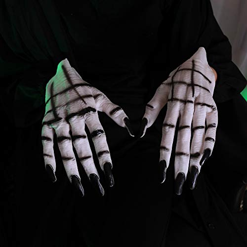 Ghost Handschuhe Kostüm Cosplay Latex Handschuhe Horror Creepy White Devil Hände Halloween Kostüm Maskerade Party Kostüme Requisiten ()