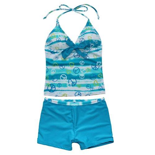 Dye Anzug Tie (iEFiEL Mädchen Bademode Tankini Bikini Badeanzug Schwimmanzug Gr. 128 140 152 164 176 (158-164,)