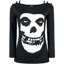 Open Shoulder Shirt (Unisex-M) Skull Open Shoulder (Black)