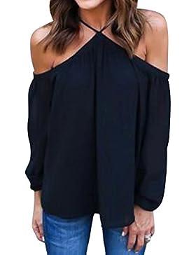 Mujeres Camiseta De Moda Blusas De Gasa Sin Tirantes Irregulares Sin Tirantes Negro XL