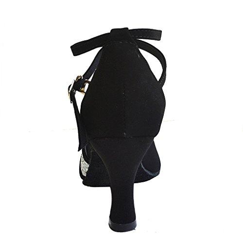 Jig Foo-Sandali donna a punta aperta, Latina Salsa Ballroom Dance Shoes Tango 6,98 (2,75 cm, per donna, con tacco alto Nero/Argento