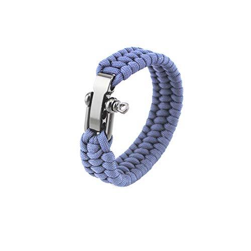 KEYkey Überlebens-Armband mit Verstellbarer Edelstahl Schäkel Paracord Armband Tactical-Seil-Schnur ultimative Armbänder für Camping Jagd Wandern Marineblau 9inch 1PC