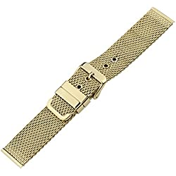 20mm Luxury Gold 316L Stainless Steel Mesh Watch Bands Chain Links Milanese Loop Straps