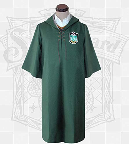 Quidditch Kostüm Hufflepuff - Quidditch Magician es Cloak Robe for Boys and Girls Birthday Holiday Gifts, Halloween Kostüm-Party, Anime Peripheral Products, Realizing The Magician ' s Dream for Your Child,Slytherin