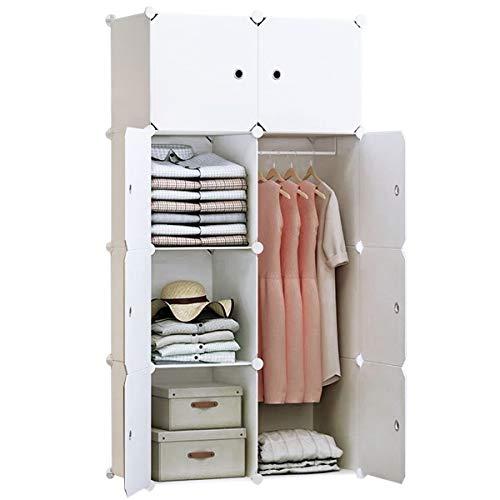 BRIAN & DANY 8 Cube Tragbarer Kleiderschrank aus Kunststoff mit Türen & 2 Kleiderbügeln - tiefer Würfel als normal (35,6 cm vs. 45,7 cm) - 2 Pfund Würfel
