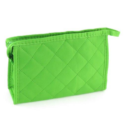 sourcingmap® Losange Imprimé Vert Polyester Maquillage Trousse De Toilette pour femmes
