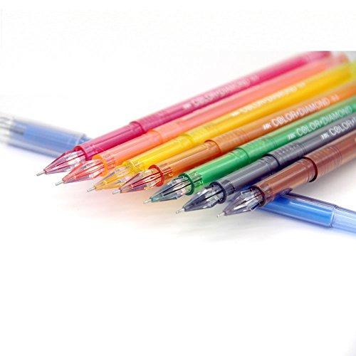 fancyus colores rotulador bolígrafos de gel con diamond Head, 0.5mm Punta Fina Roller bolígrafos para adulto para colorear libros y secreto de jardín, juego de 18