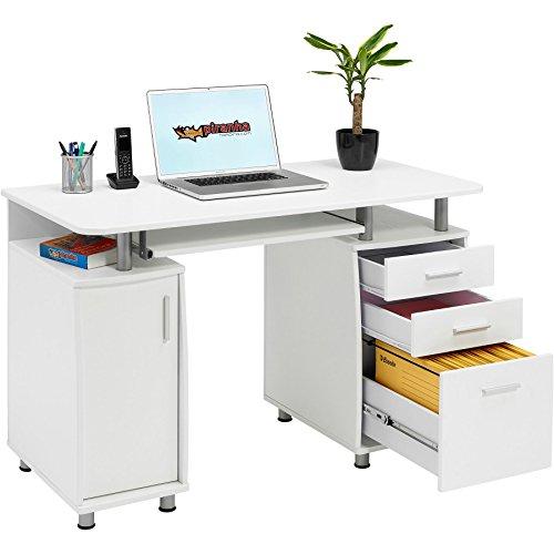 Großer Computer und Schreibtisch mit Registratur A4, 2Stationery Schubladen & Schrank für Home Office in Weiß Holzmaserung Piranha PC 2s