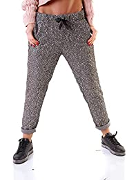 7893aada64c3 Wholefashion Metallic Chino Hose Jogging Look Grobstrick Vorne Pailetten  Hinten glatt GRAU