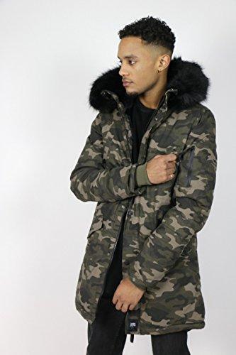 Manteau Parka Camouflage Sixth June M2015SOW Vert Homme Streetwear Kaki