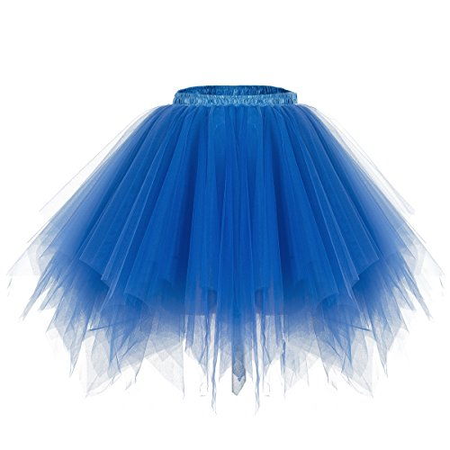 Bridesmay Tutu Damenrock Tüllrock 50er Kurz Ballet Tanzkleid Unterkleid Cosplay Crinoline Petticoat für Rockabilly Kleid Royal blue XL (Blau Rock Royal)