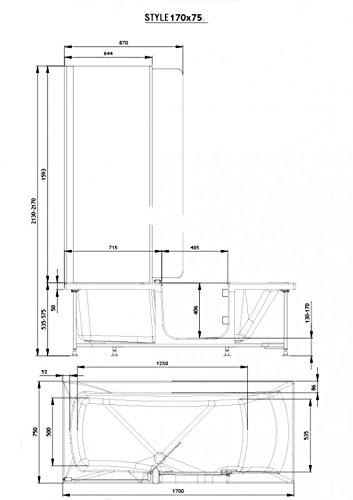 Badewanne 1700×750 mm / 170×75 cm HOSTYLE mit Tür inkl. Duschaufsatz, Schürze und Ablauf