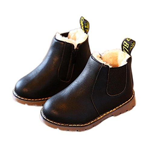 URSING Kinder Jungen Mädchen PU-Leder Stiefel Winter Schnee Plüsch- Warmes Knöchel Reißverschluss Kind britisch Single weich Retro Martin Stiefel Turnschuhe (29, (Kinder Für Günstige Stiefel)