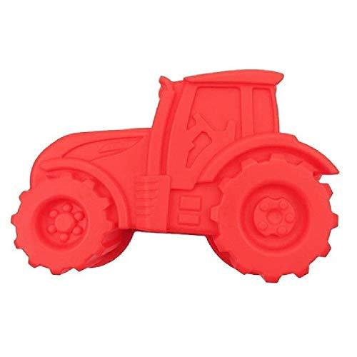 Q-Town Backform Traktor, rote Kuchenform zum backen für Kindergeburtstag,Silikonform, Bulldog Motivform, Silikontraktor für Kuchen, EIS, Schokolade, Brot, Dessert Pudding,besondere Form BPA frei