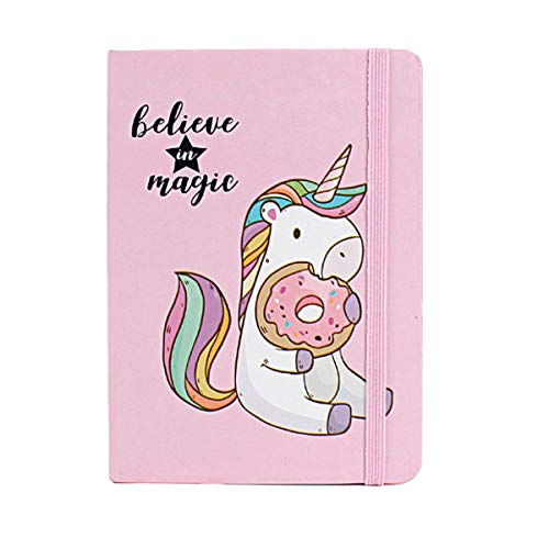 STOBOK Niedliche Notebook Einhorn Muster Dekor A6 Notizblock Memo Schedule Checkliste mit Binder Ring für Mädchen Kinder Tagebuch Journal Travel School Student Office