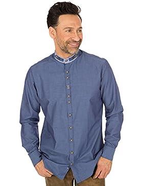 orbis Textil Trachtenhemd Stehkragen Jeansblau