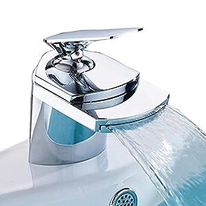 Grifo de Lavabo Baño,Grifo Cascada Monomando para Cuadrado Fregadero Cocina Mezclador, Válvula De Cerámica, Agua Fria y…