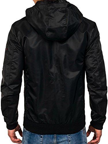 BOLF – Veste á capuche – Fermeture éclair – Motif – Homme 4D4 Noir