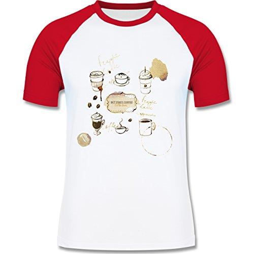 Statement Shirts - But first: Coffee Wasserfarben - zweifarbiges Baseballshirt für Männer Weiß/Rot