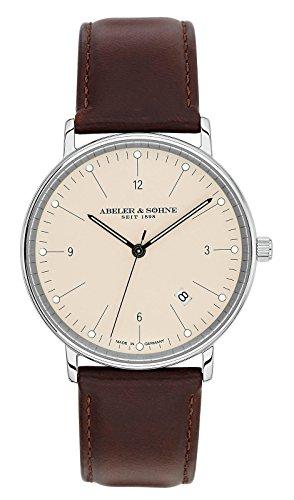 Abeler & Söhne–Made in Germany–Orologio da uomo con cinturino in pelle, Vetro Zaffiro e Data as1145