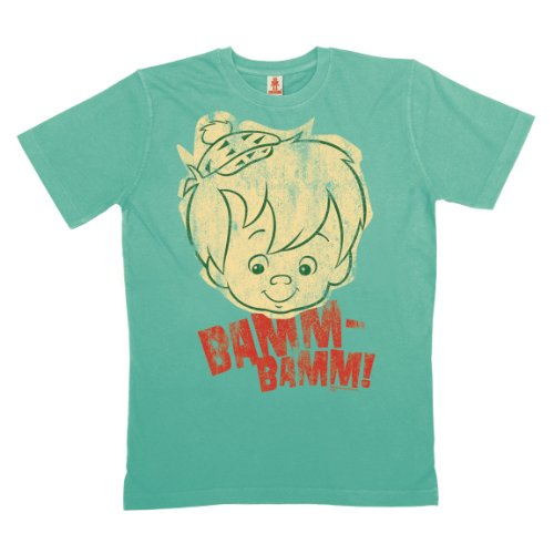 Logoshirt - Flinstone T-Shirt Bio Baumwolle - Bamm Bamm - Familie Feuerstein - türkis - Linzenziertes Originaldesign, Größe XL