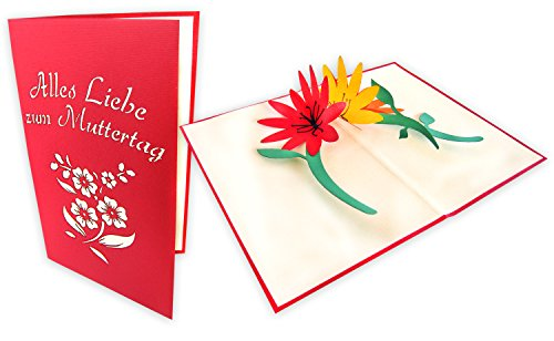 3D Muttertagskarte mit Blumenmotiv Alles Liebe zum Muttertag handgefertigt, 3D Pop up Karte, Grußkarte, Muttertagsgeschenk, Geschenk zum Muttertag
