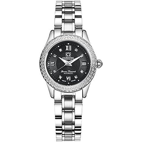 downj Orologio da donna impermeabile luminoso automatico diamante quadrante nero orologio da donna - Womens Diamante Orologio Automatico