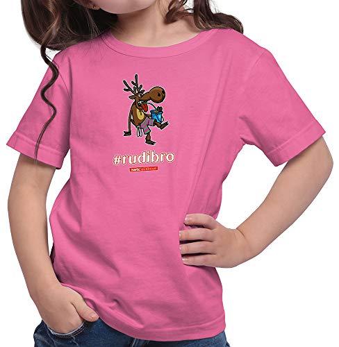 HARIZ  Mädchen T-Shirt Pixbros Rudibro Xmas Weihnachten Kinder Lustig Winter Plus Geschenkkarte Pink 104/3-4 Jahre