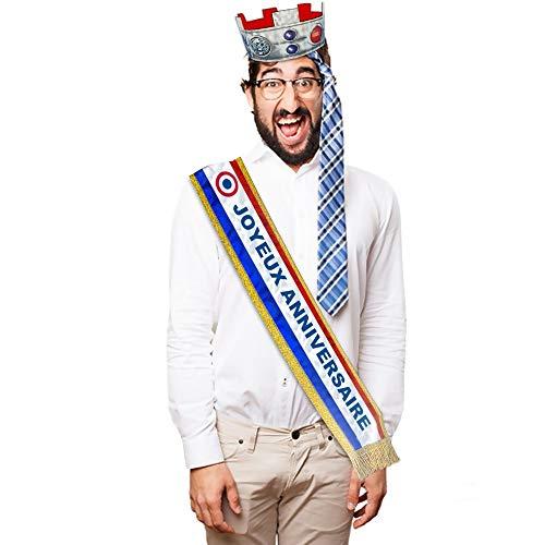Echarpe humoristique tricolore Joyeux anniversaire - Taille Unique
