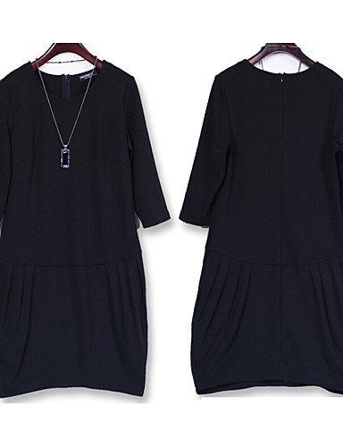 LYQ/ Robe Aux femmes Grandes Tailles Grandes Tailles / Vintage / Soirée / Travail / Décontracté , Couleur Pleine / Rayé Col ArrondiAu dessus black-4xl