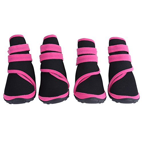 Fdit 4 Stücke Hund Stiefel Wasserdicht Anti-Slip Welpen Winter Outdoor Schuhe Paw Protectors für Wandern Wandern Reisen Schnee(S pink)