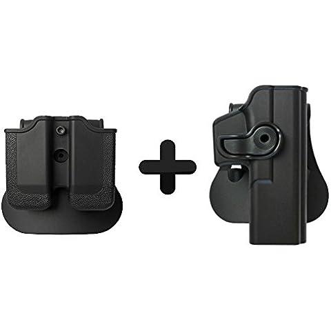 Imi Defense ritenzione Roto fondina + doppio Mag Magazine Pouch per Glock 172231pistola - Militare Doppio Magazine Pouch