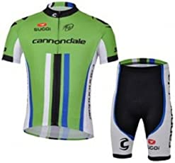 MyCycyology Green Stripe Set Mens Cycling Jersey Full Front Zip Half Sleeves Padded Shorts Set