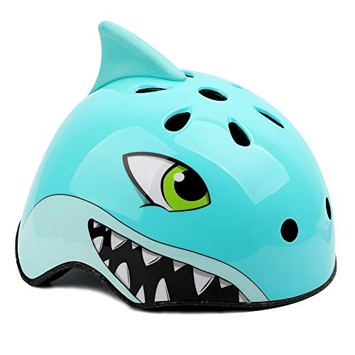 Meizi casco bici bambino, casco bici bimbo casco sportivo per skateboard, casco per casco da bambino, casco per bambini (s:50-54cm, squalo blu)