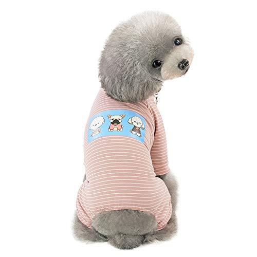 Haustier Hundekleidungs Pyjamas mit einfachen Streifen, niedlicher Welpen Kleideroverall Cartoon Hundebaumwollspielanzug Kostüm mit 4 Ärmeln (Einfache Niedlich, Kostüme)