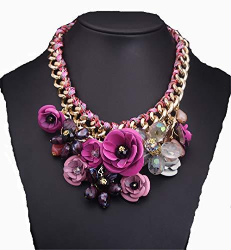e Statement-Kette, Frauen arbeiten elegante Blumen-Aussage umsponnene Kettenstrickjacke-kurze Halsketten-Kostüm-klobiges Brauthochzeits-Schmuck-Geschenk um Lätzchen Choker Halsband ()