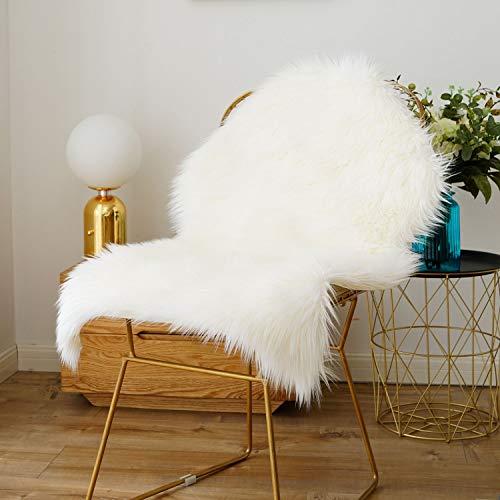 Gemütliche Plüsch (CUSHION Faux Schaffell Pelz Teppiche Weich Künstlich Lammfell Fell Stuhl Couch Abdeckung Sitz Mats 6 cm Plüsch- Flauschige Gemütlich zum Sofa-Pads,White,2'x3')